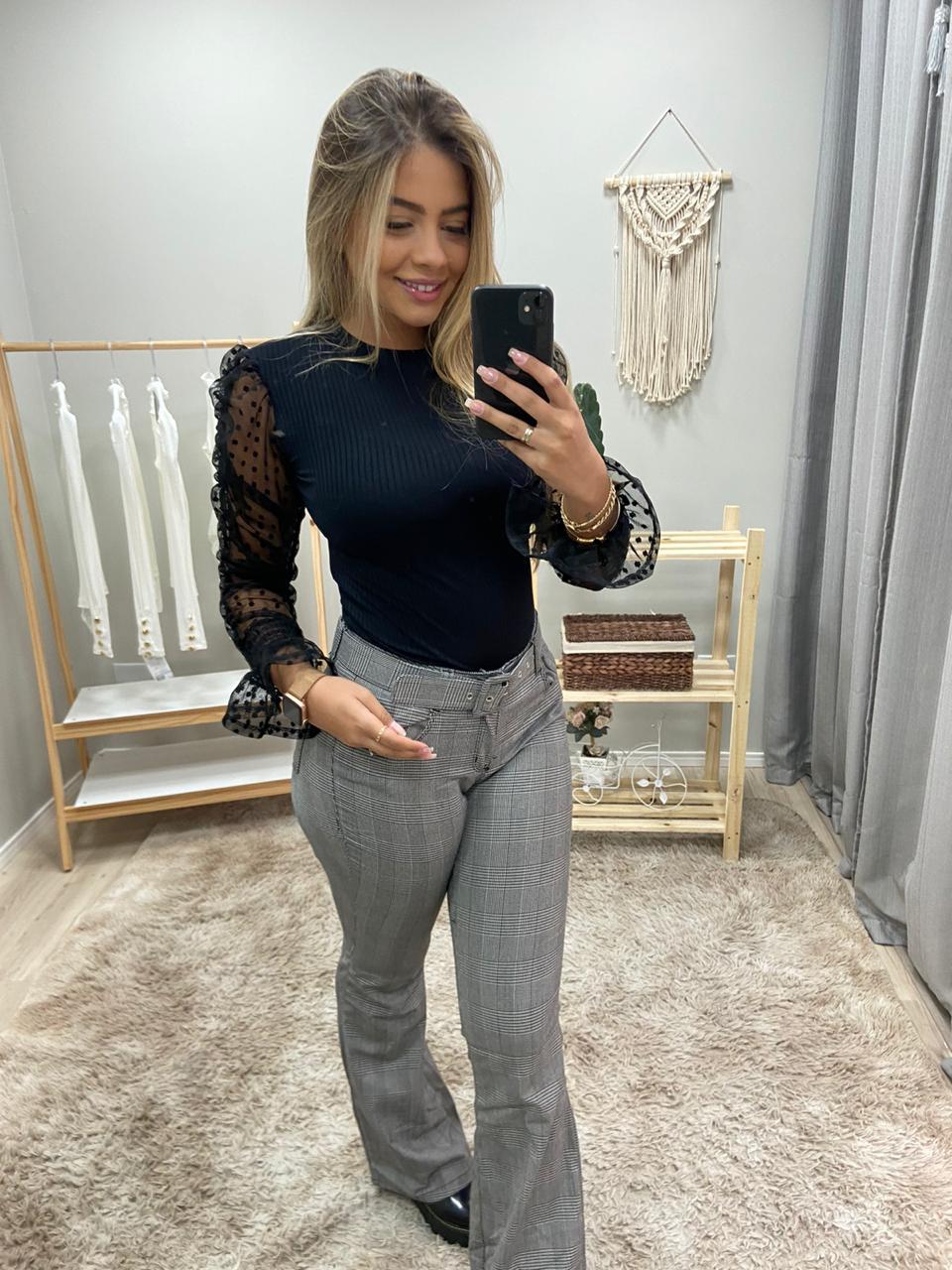 Calça Jeans Flare Xadrez CNS 17169