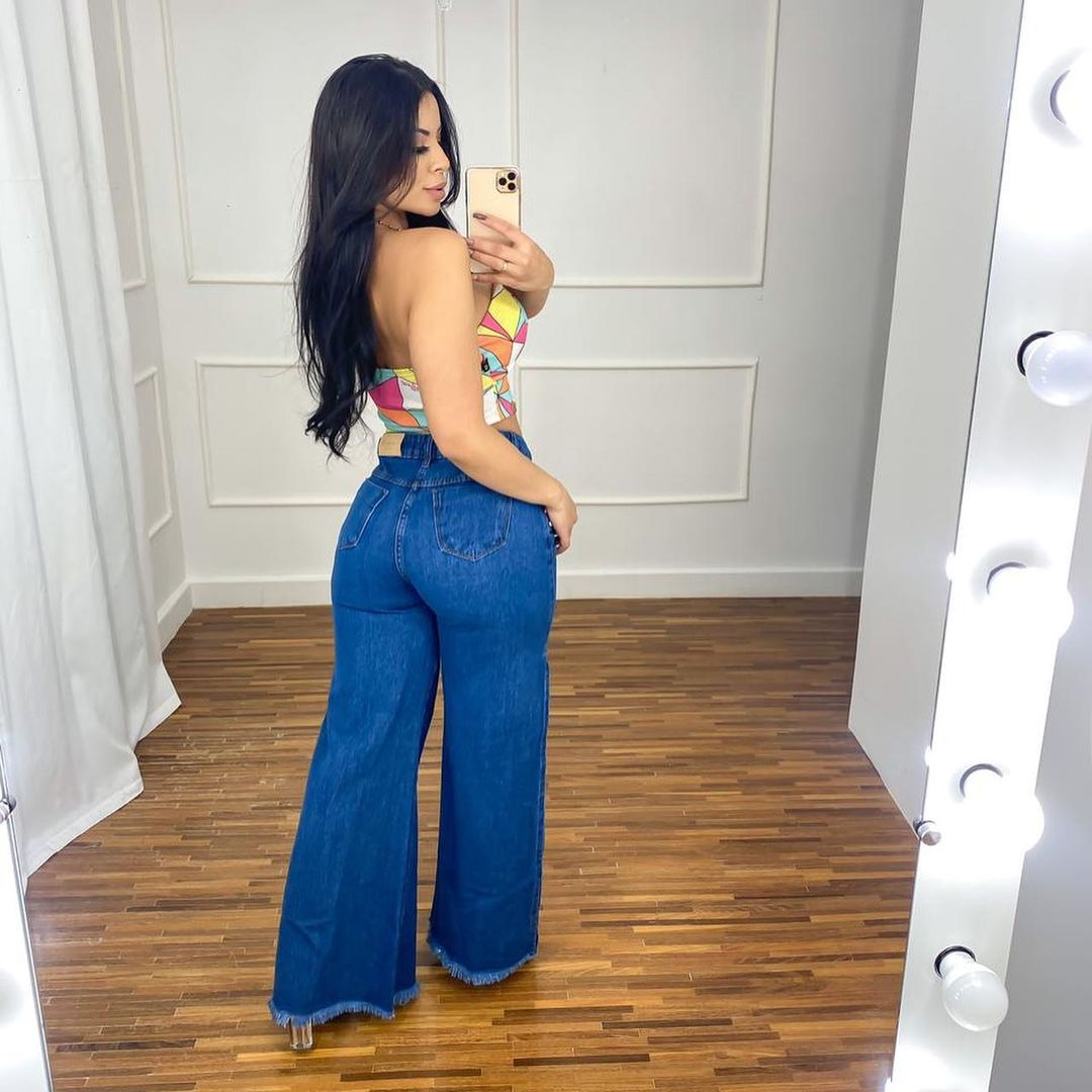 Calça Jeans Pantalona Fendas Laterais MLD 9910