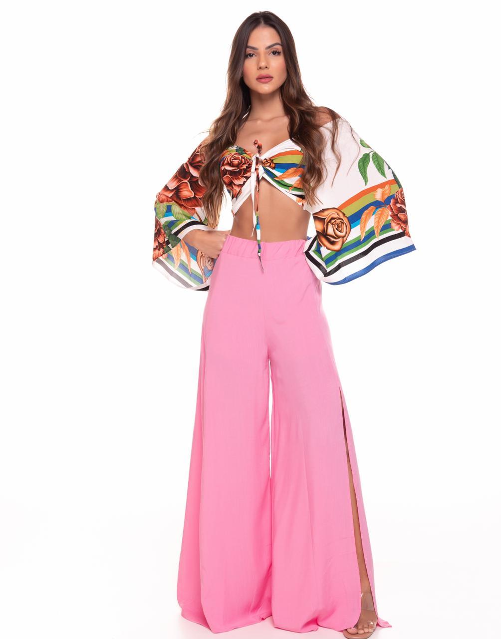 Calça Viscose Luxo Pantalona LDO 79 - Cor: Rosa Bebê