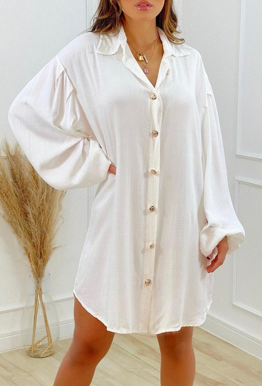 Chemise Maxi Camisa Botões DUD 53 Branco