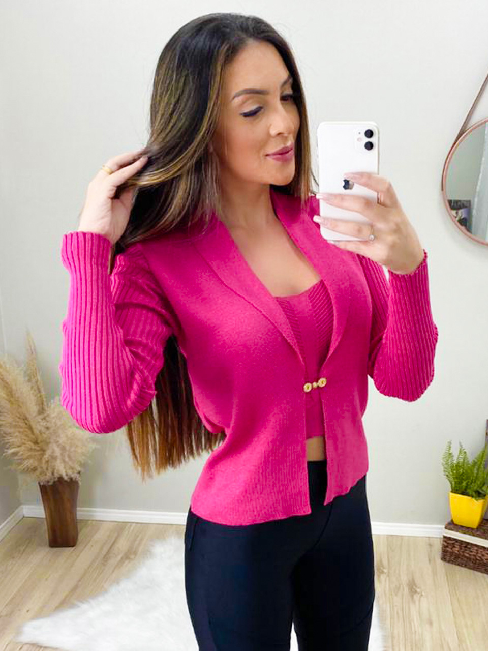 Cjto Tricot Casaco Cropped POT 58 Pink