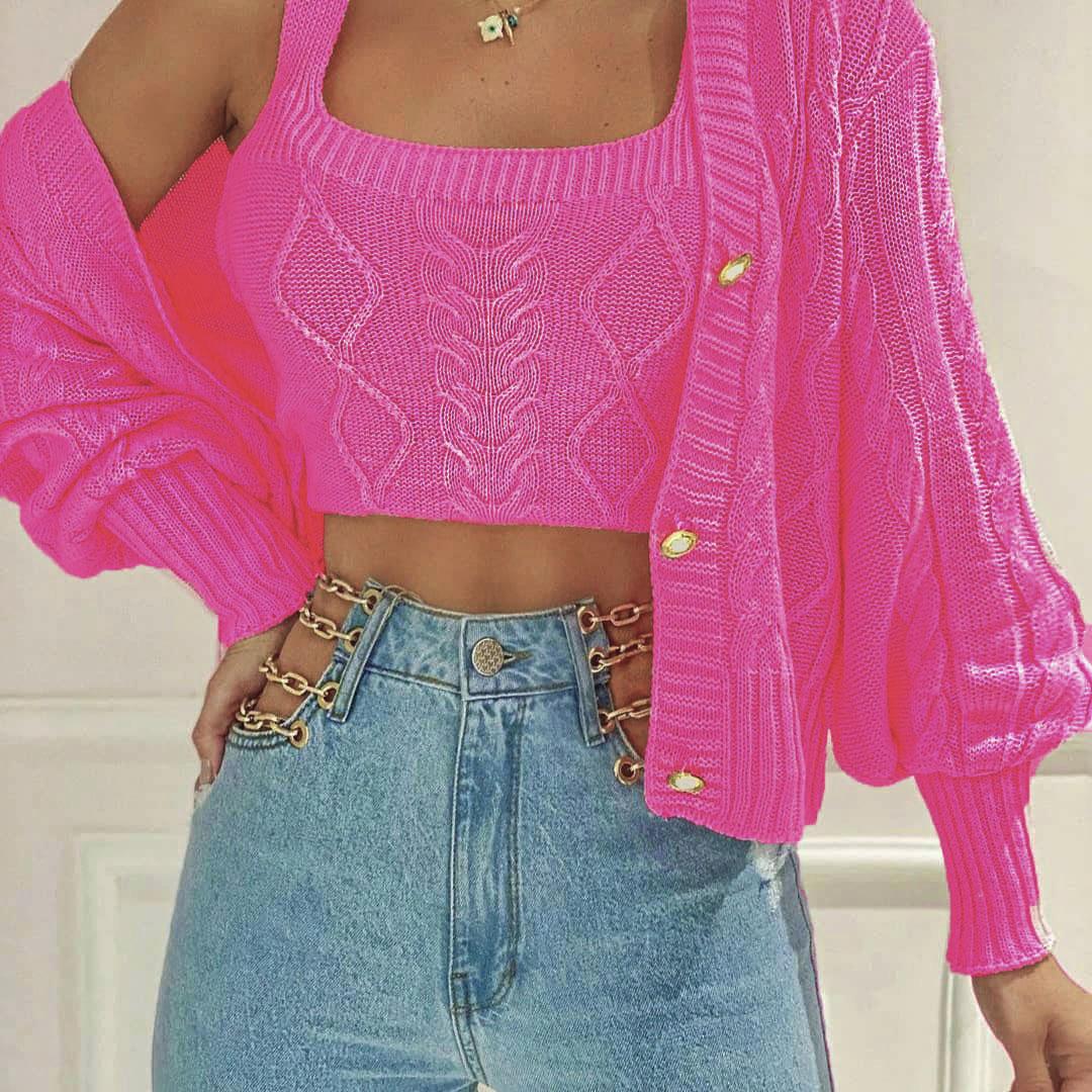 Conjunto Casaco e Cropped Tricot Twin Set POT 07 Pink