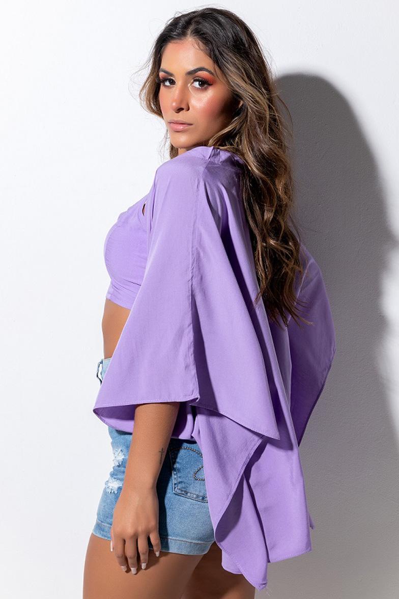 Conjunto Cropped e Kimono LDO 78 - Cor: Lilás