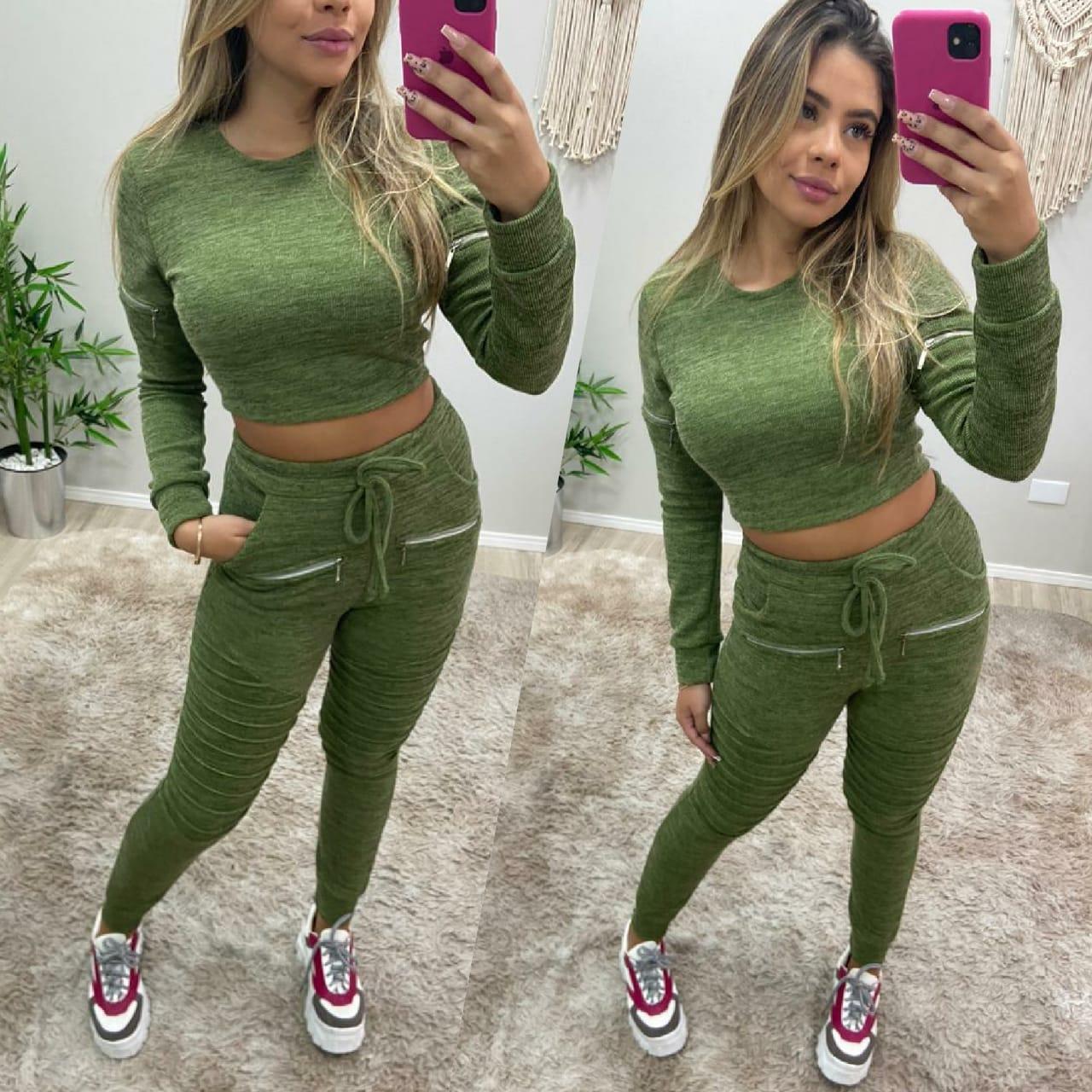 Conjunto Lanzinha Ziper Verde LAF 2279