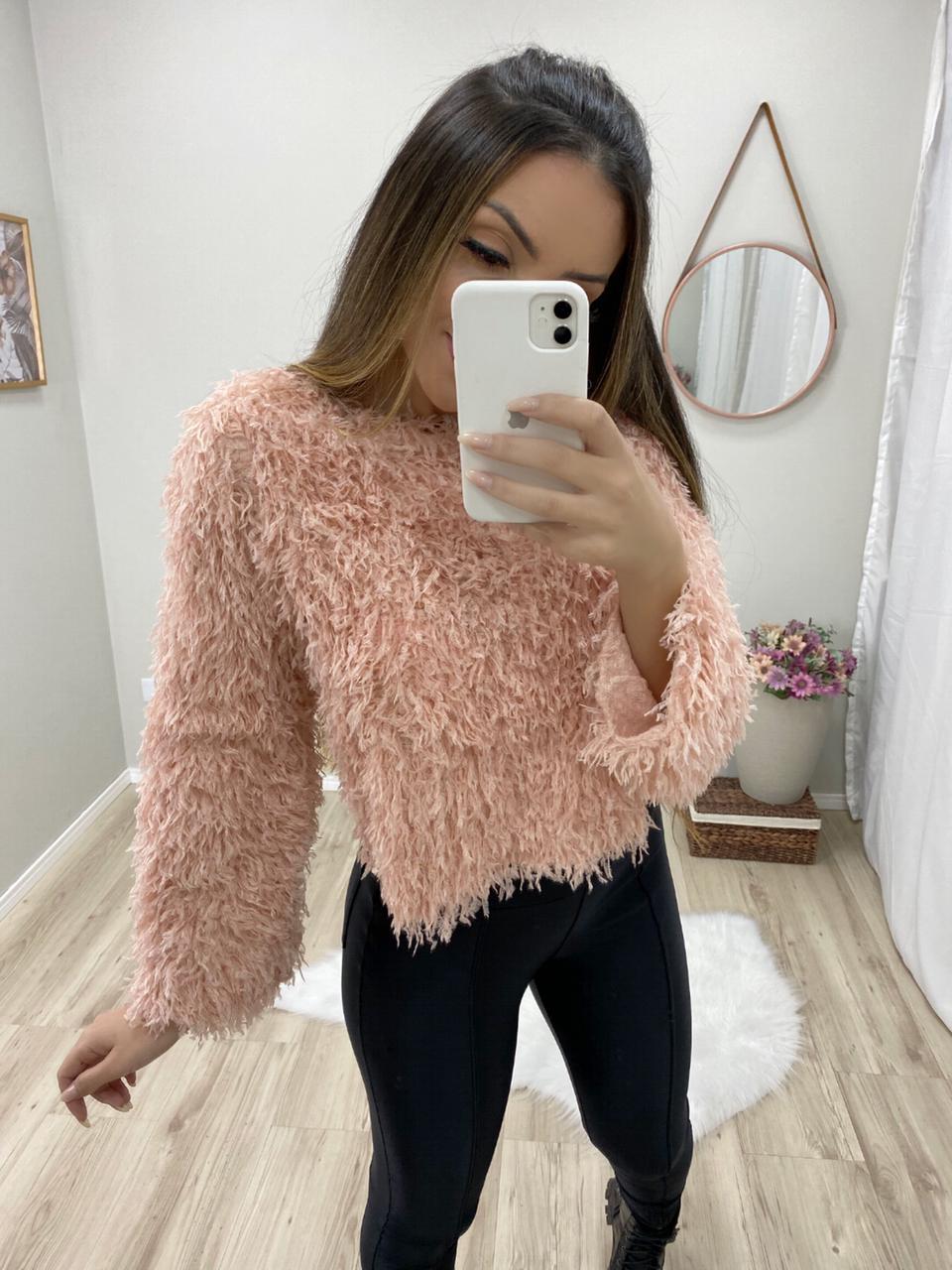 Cropped Fashion Pelinhos Mg Flare JNY 06 Rosa
