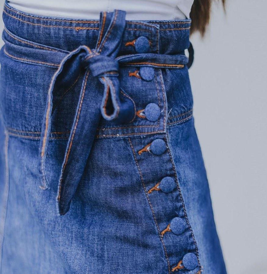 Saia Jeans Midi Botoes Amarração CCJ 766