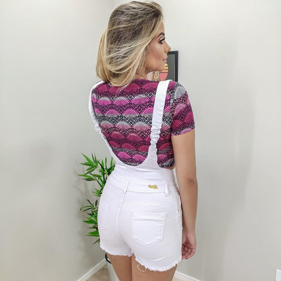 Shorts com Suspensório White DPO 35