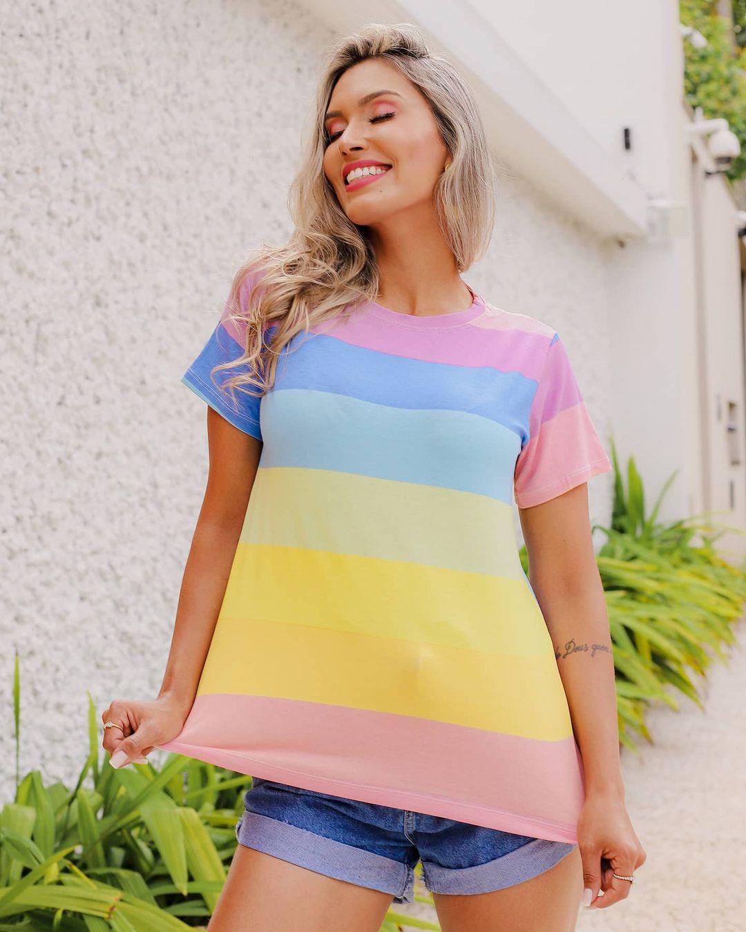 T-Shirt Arco Íris Listra Grossa GBB 224