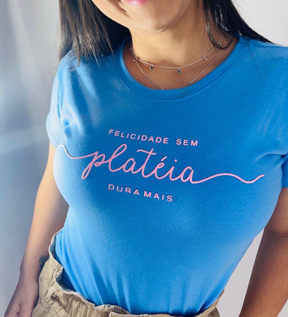 T-Shirt Felicidade sem Platéia WGR 40 - Azul