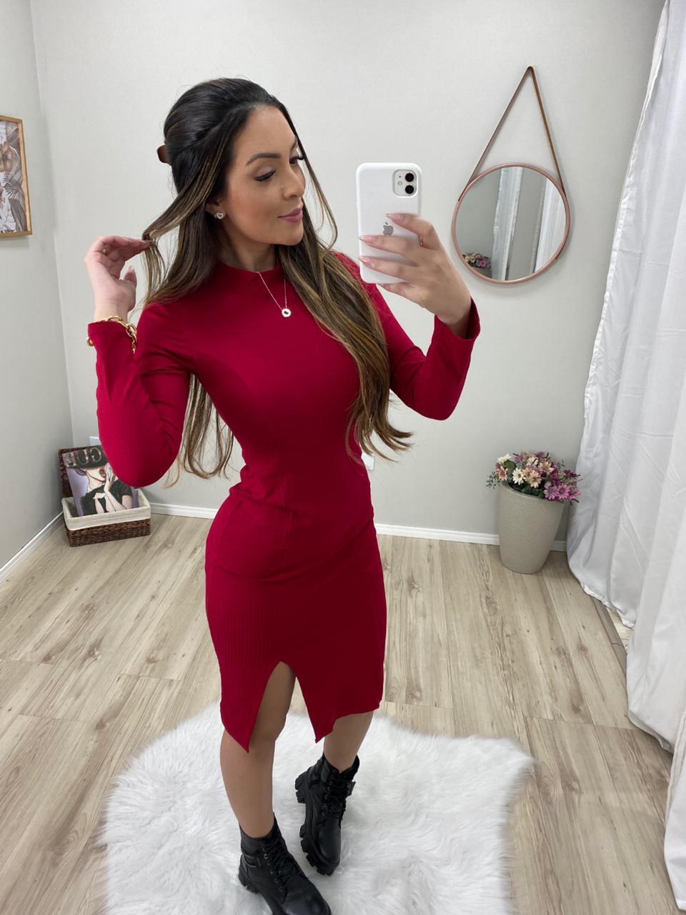 Vestido Canelado Midi Com Fenda FBM 05 Vermelho