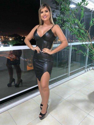 Vestido Cirrê com Fenda DMY 238