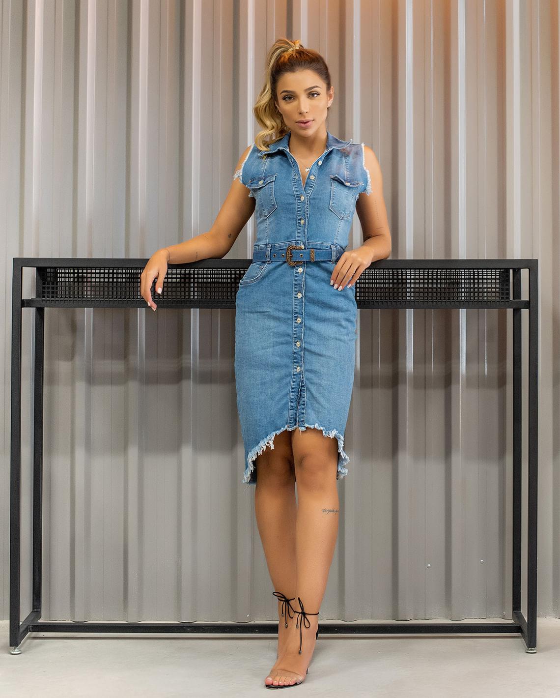 Vestido com Cinto Revestido Consciência Jeans CNS 19978