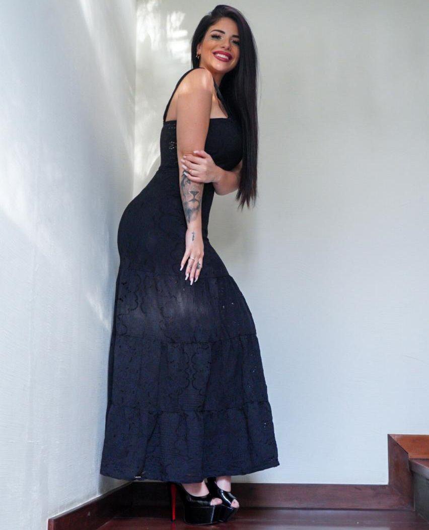 Vestido Longo de Renda Babado MB 4552