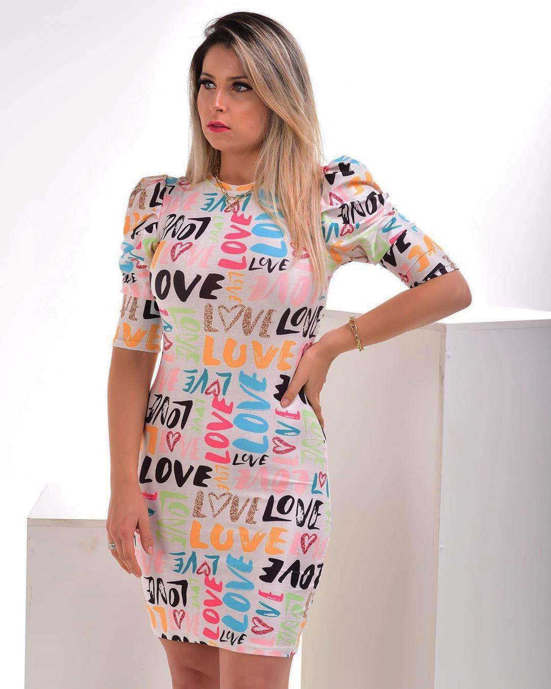 Vestido Love Manga Curta Bufante JAN 142