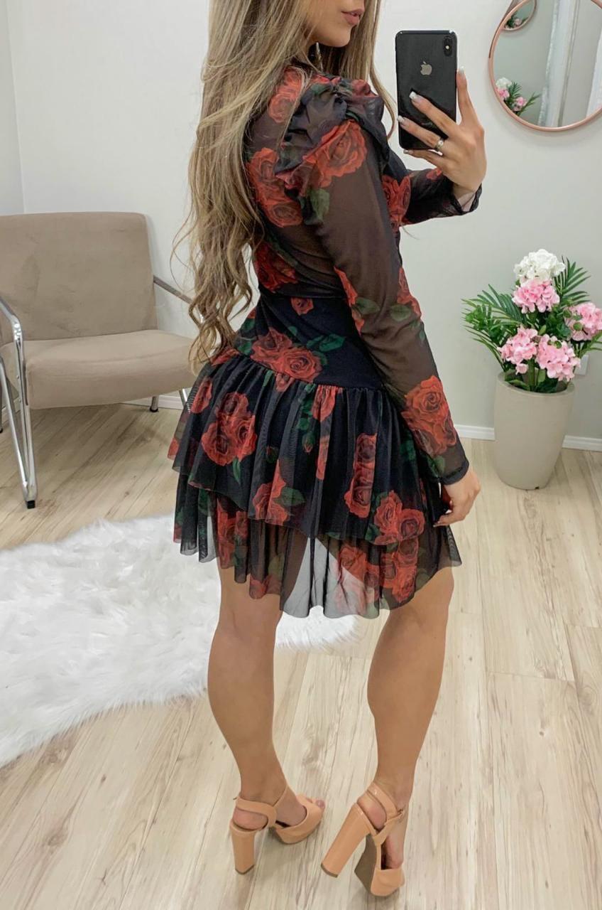 Vestido Microtule Babados JMD 11 Rosas Vermelhas