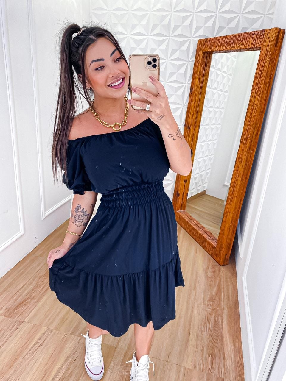 Vestido Ombro Elastex JAN 180 Preto