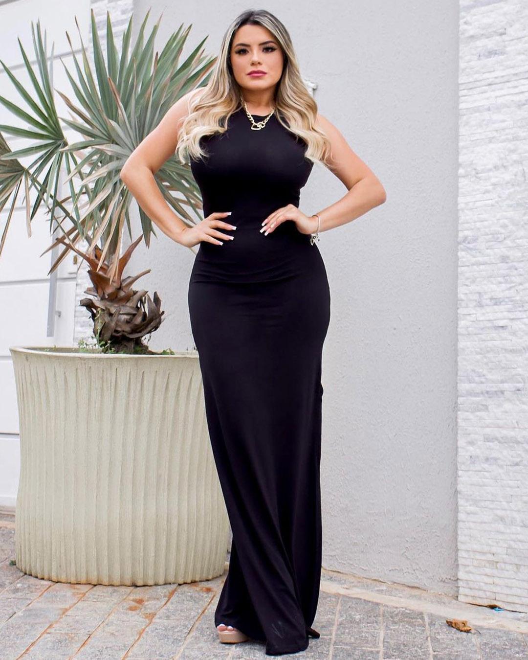 Vestido Tiras Costas MLL 352 - PRETO