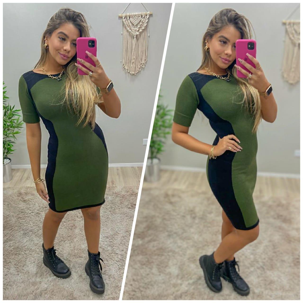 Vestido Tricô Green Black JNF 258