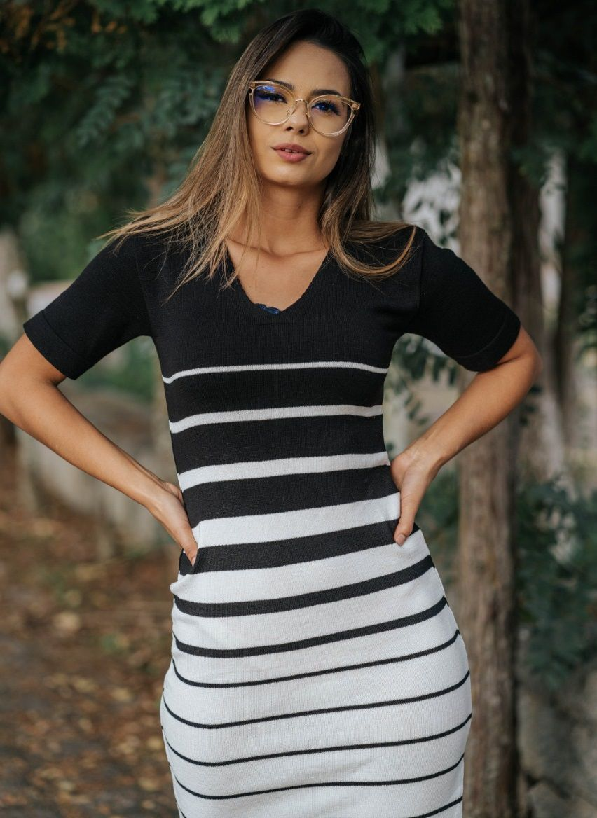 Vestido Tricô Listras JNF 124