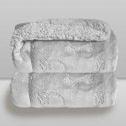 Cobertor Bebe Plush Com Sherpa Ferrete Cinza Donna Laço