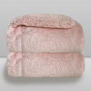 Cobertor Bebe Plush Com Sherpa Ferrete Rosa Donna Laço