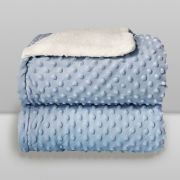 Cobertor Dots Plush Sherpa Azul