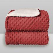 Cobertor Dots Plush Sherpa Vermelho
