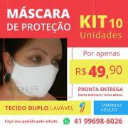 Kit 10 und Mascara Tecido Reutilizavel - Algodao SPC