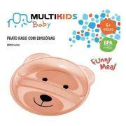 Prato Raso Com Divisórias Funny Meal Urso BB048 Multikids