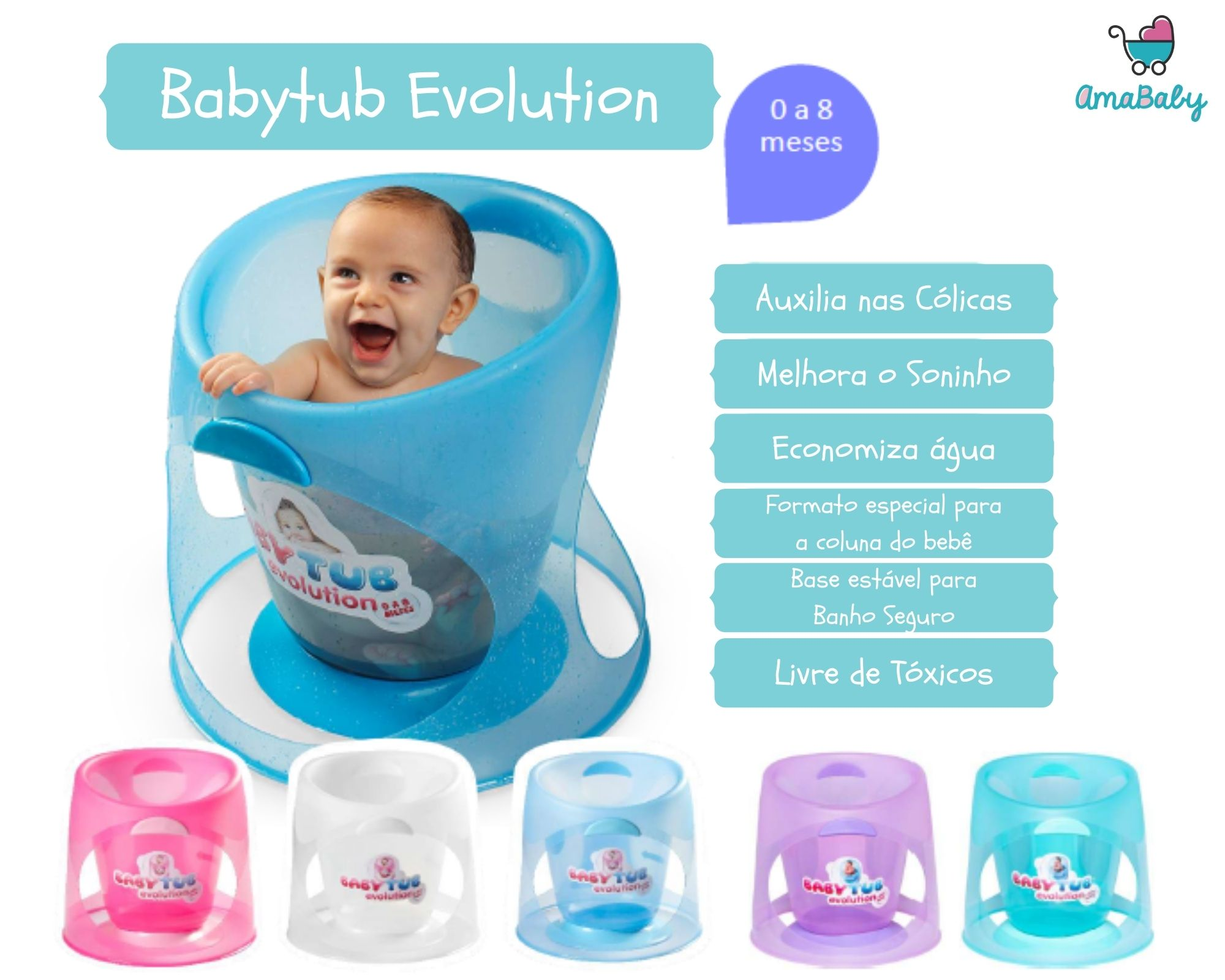 Banheira Babytub Evolution Laranja Cristal 0-8 meses