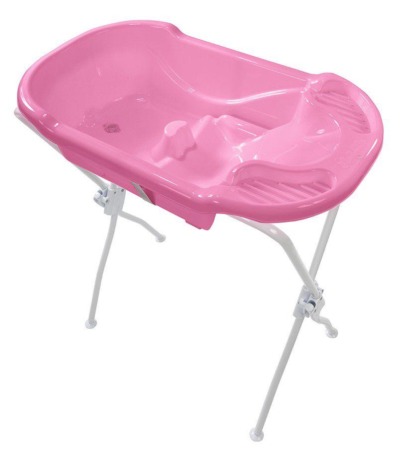 Banheira Ergonomica com Suporte Rosa Tutti Baby