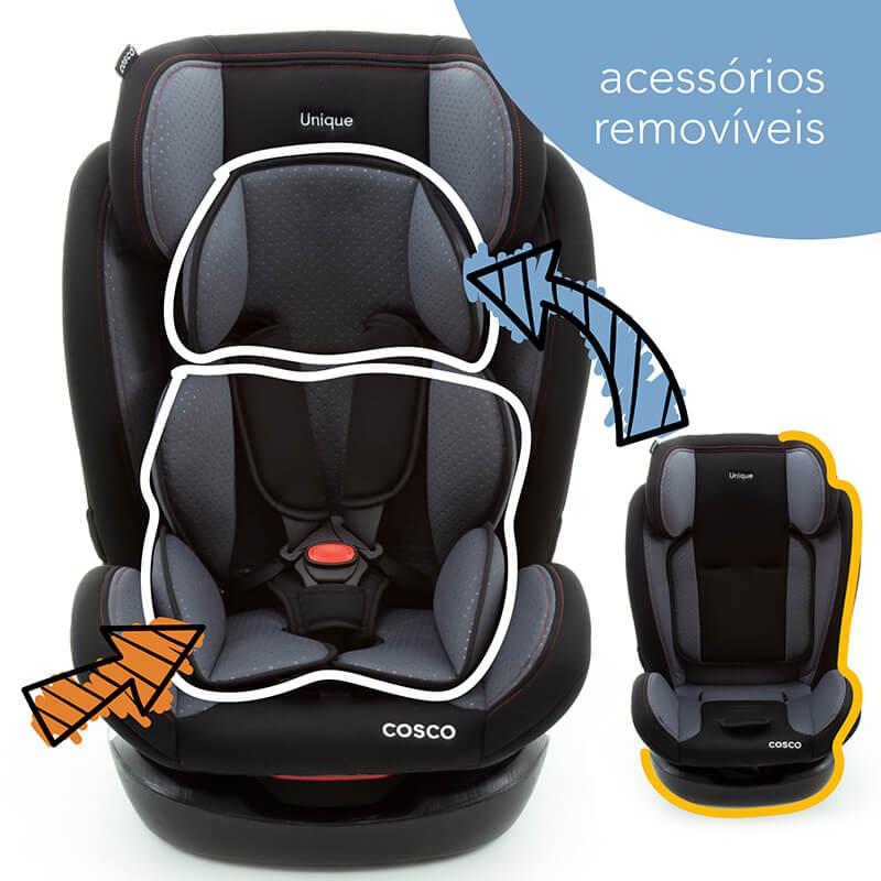 Cadeirinha Carro Unique Cinza Sport Cosco