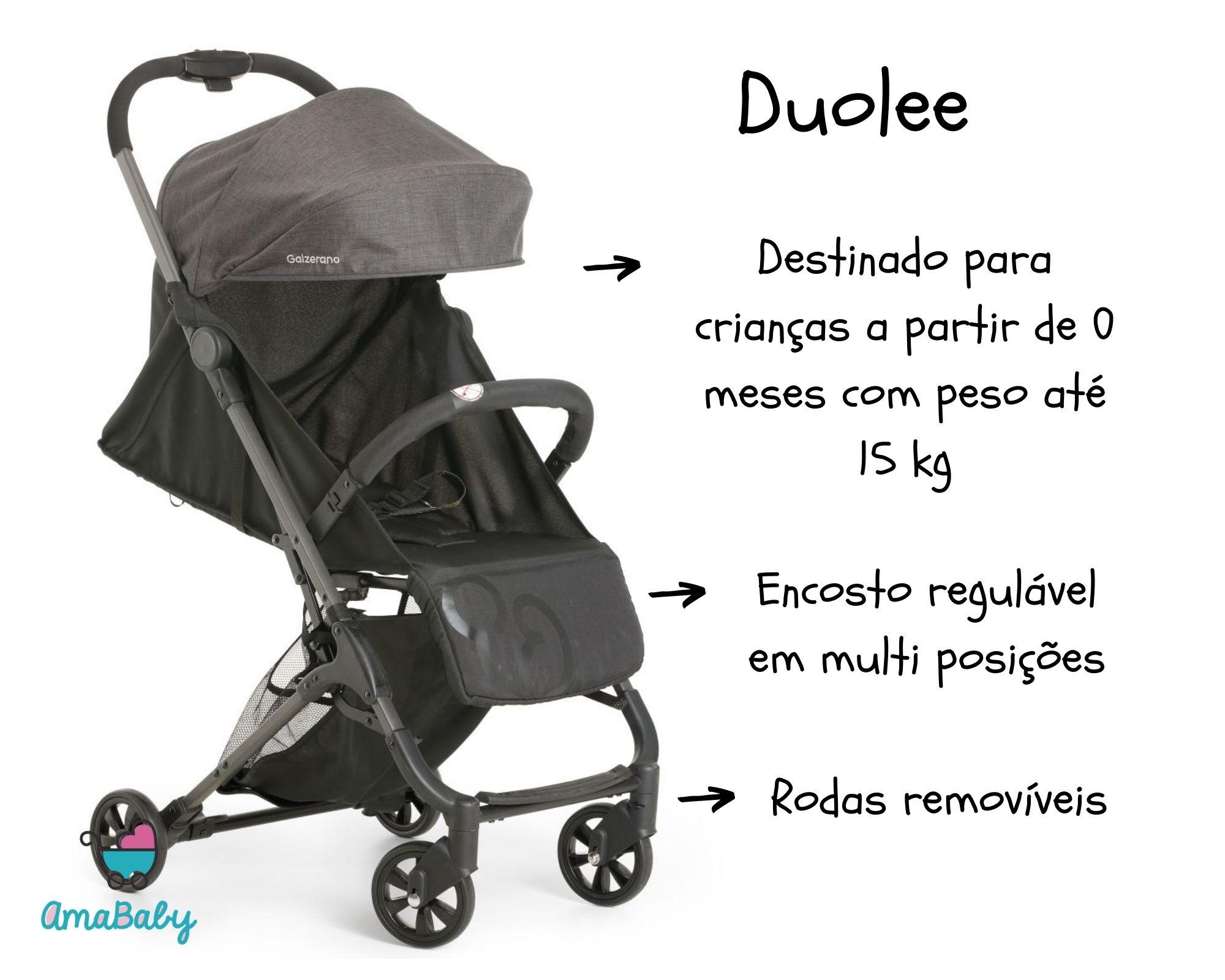 Carrinho Bebê Duolee Preto Galzerano