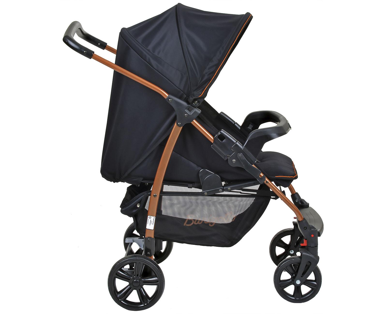 Carrinho de Bebê com Bebê Conforto Ecco Travel System Preto Cobre