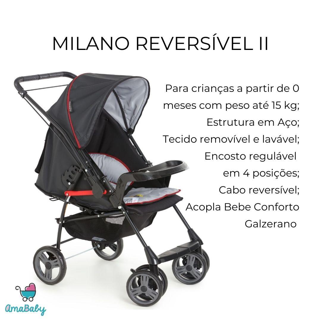 Carrinho de Bebe Milano Reversível + Base + Bebe Conforto Preto Galzerano