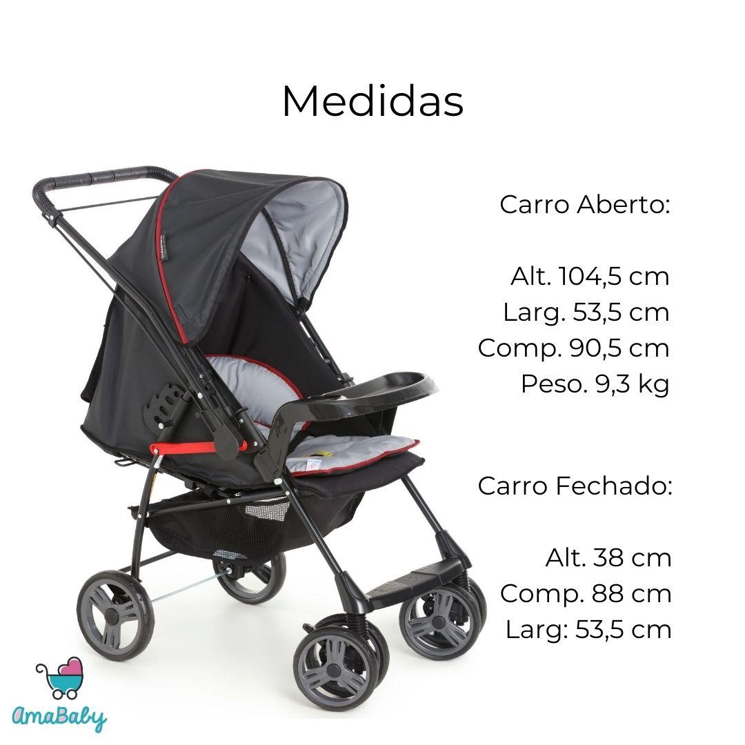 Carrinho de Bebe Milano Reversível Preto Galzerano