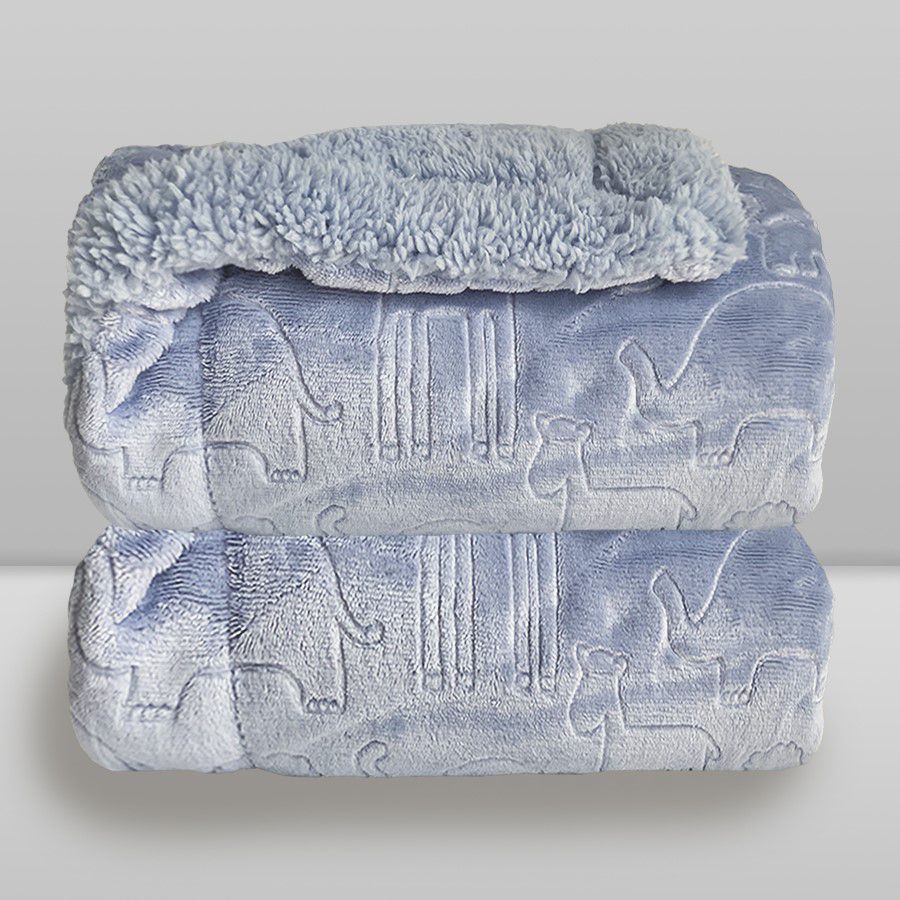 Cobertor Bebe Plush Com Sherpa Ferrete Azul Donna Laço