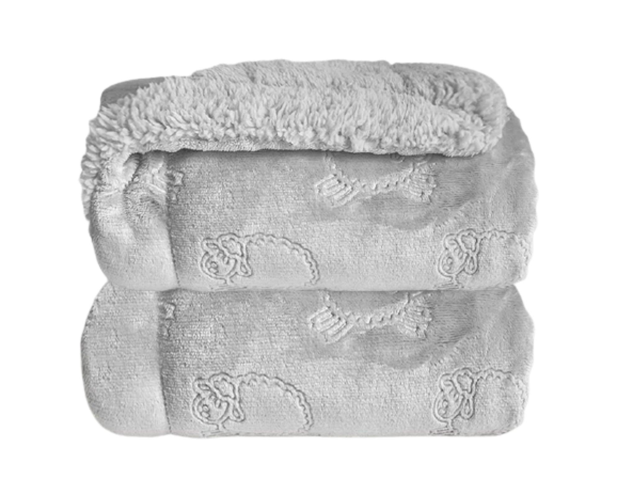 Cobertor Bebe Plush Com Sherpa Ferrete Cinza