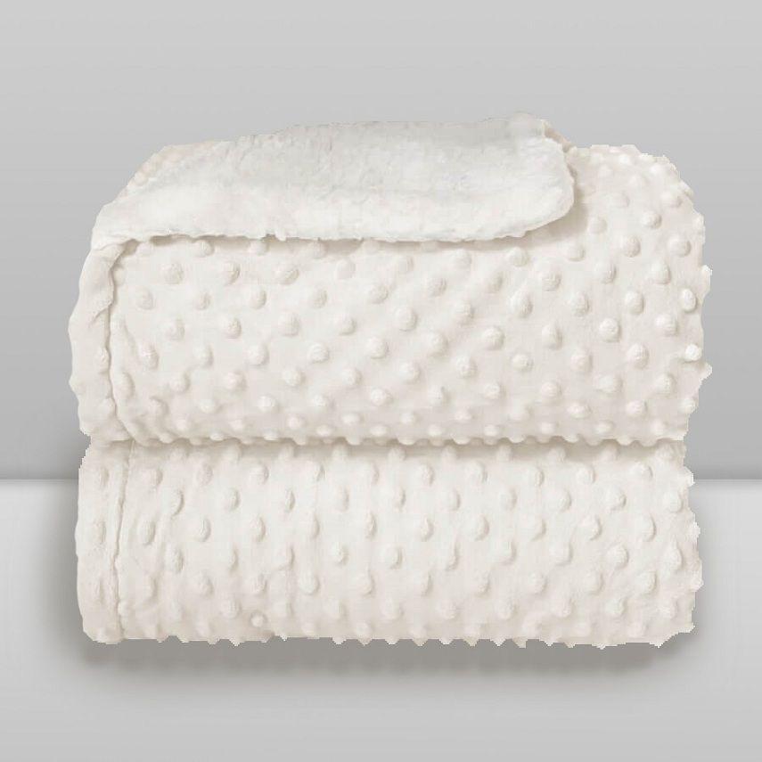 Cobertor Dots Plush Sherpa Branco