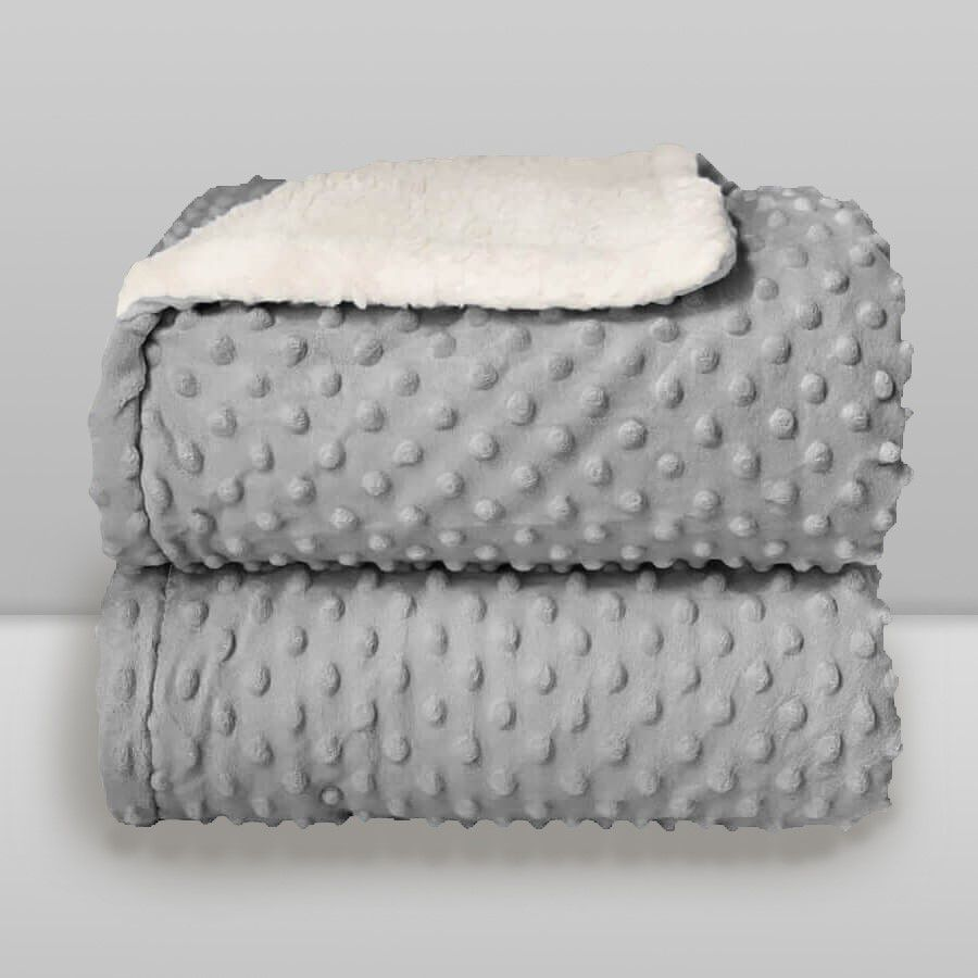 Cobertor Dots Plush Sherpa Cinza Glacial