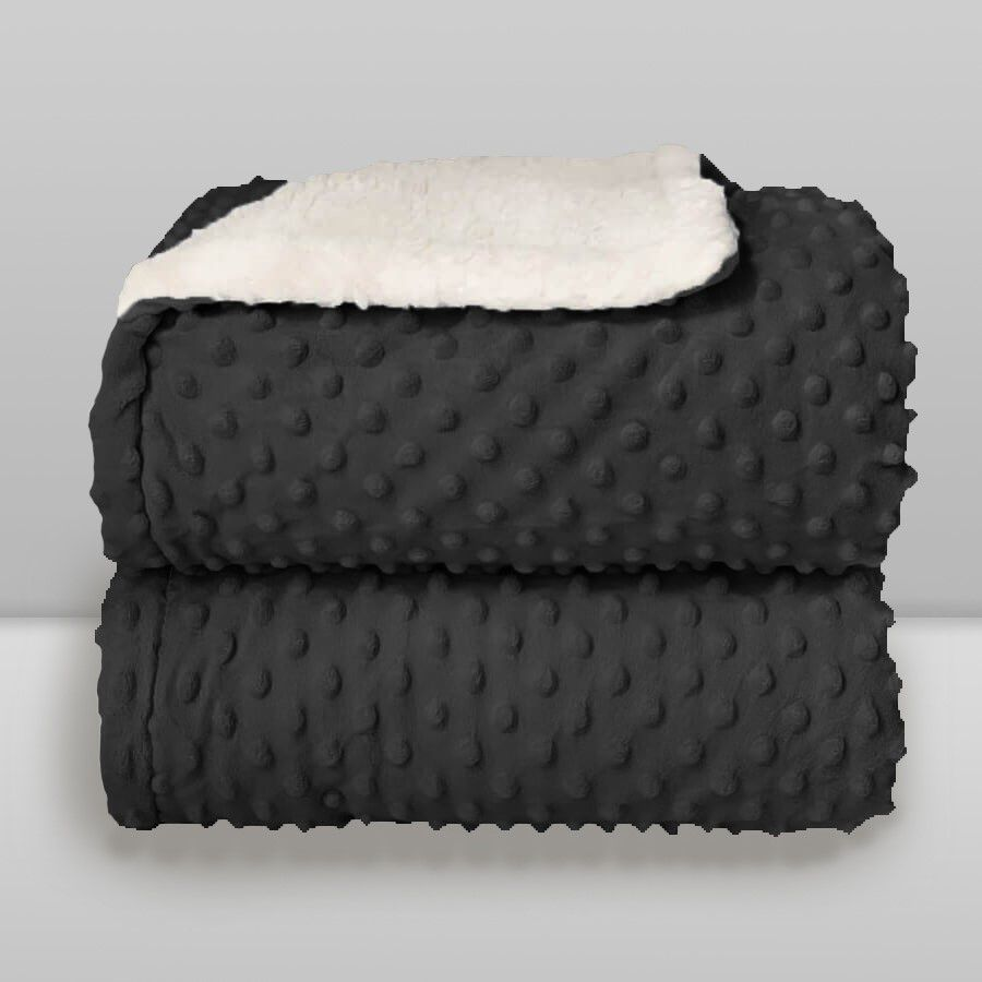 Cobertor Dots Plush Sherpa Preto