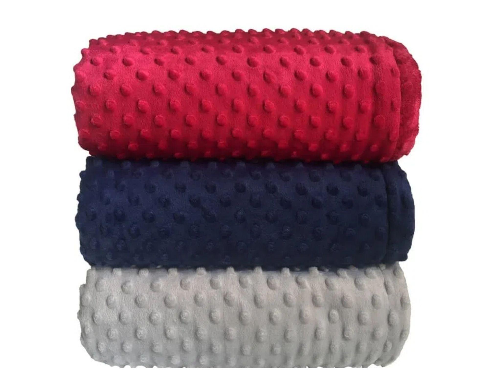 Cobertor Dots Plush Sherpam Azul