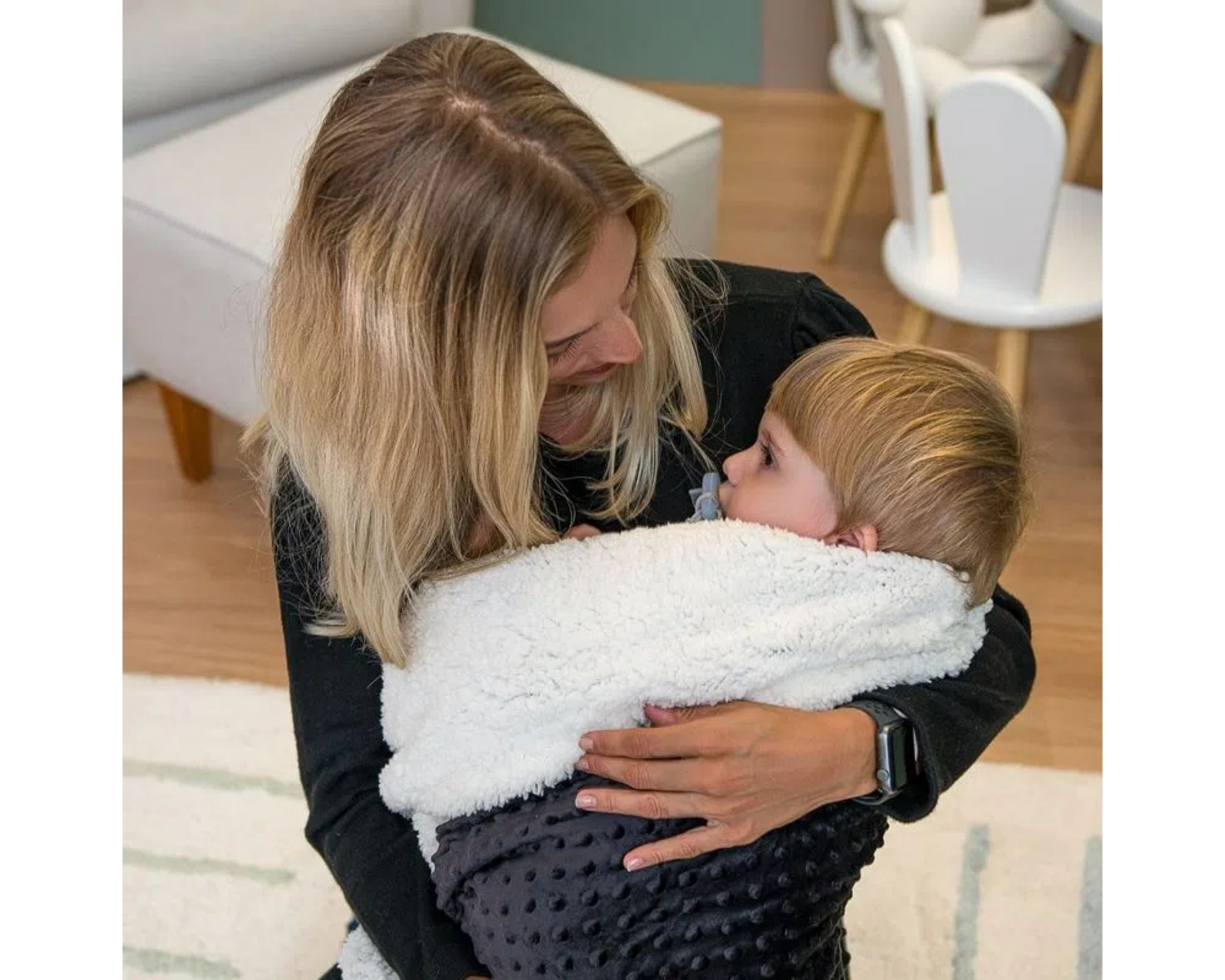 Cobertor Dots Plush Sherpam Cor:Preto