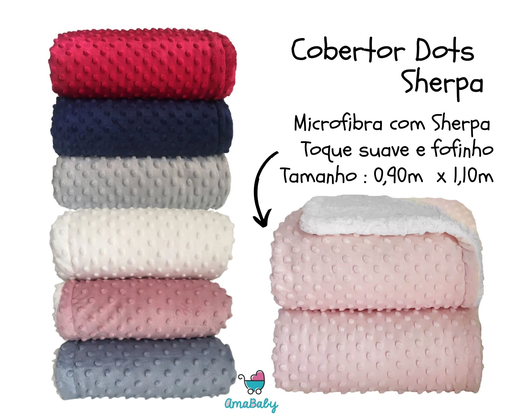 Cobertor Dots Plush Sherpam Cor:Vermelho