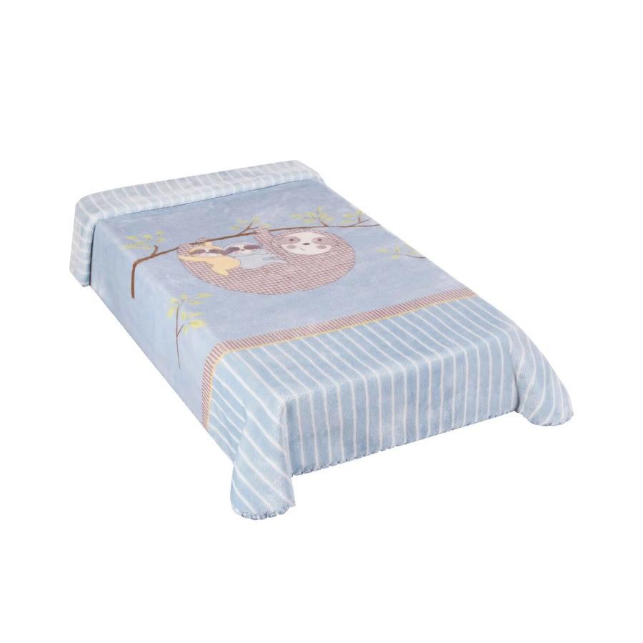 Cobertor Le Petit Preguiça Azul Colibri