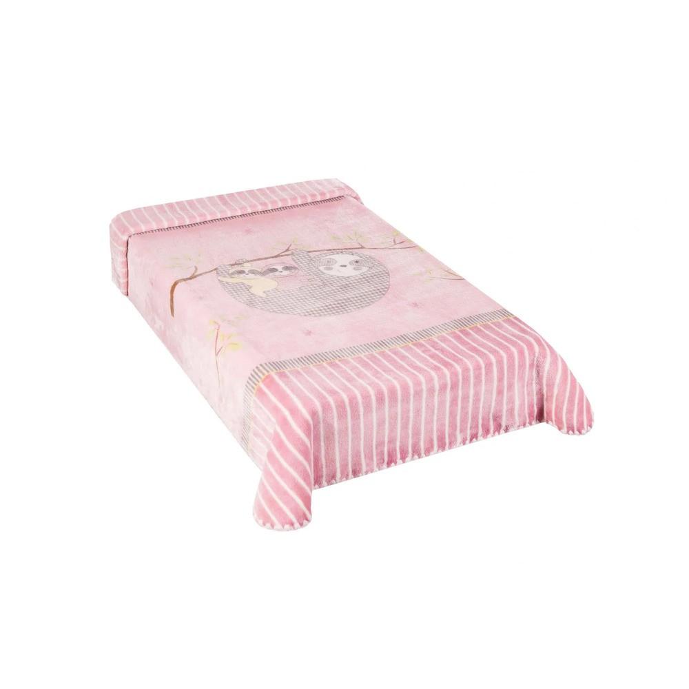 Cobertor Le Petit Preguiça Rosa Colibri