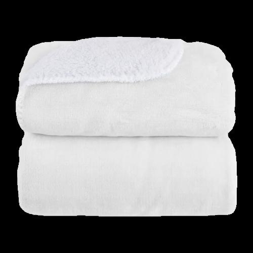 Cobertor Sherpam Liso Branco Laço Bebe