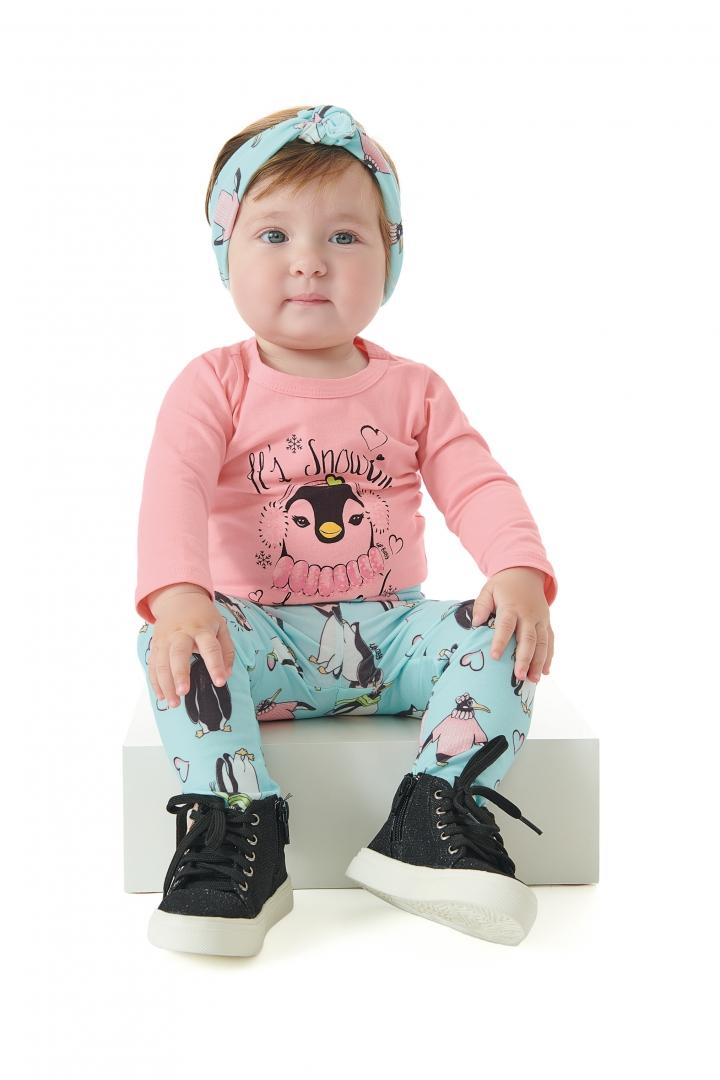 Conjunto Body Cotton Calca e Faixa Flanelada Pinguim Up Baby