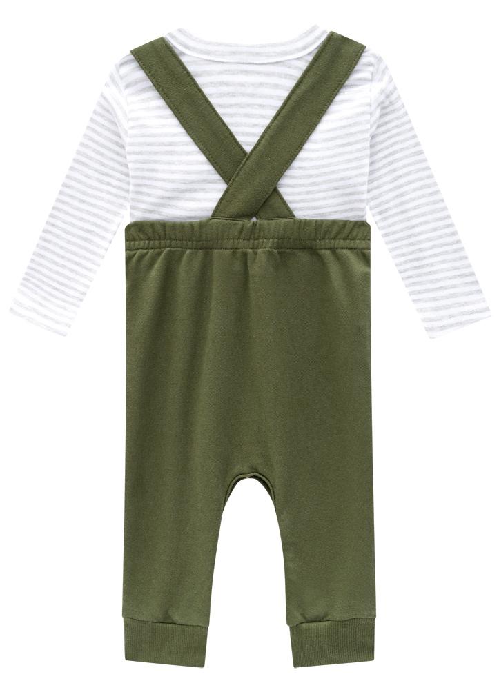 Conjunto Camiseta Ribana Fio Tinto Jardineira Masculino Verde Brandili