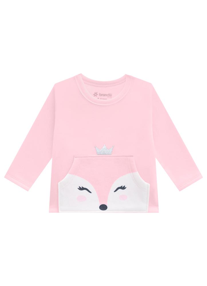 Conjunto Coroa Rosa Blusa e Calça Moletom Feminino Brandili